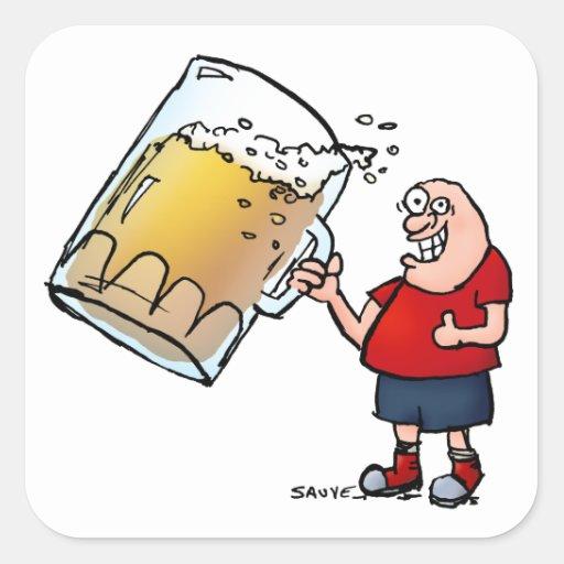 Apenas un individuo GRANDE de la cerveza Pegatina Cuadrada
