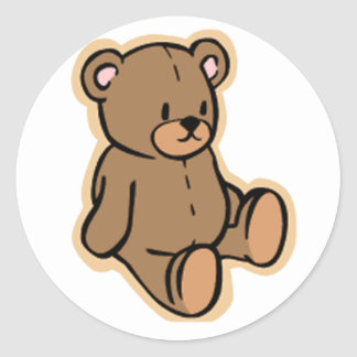 Apenas un oso de peluche pegatina redonda