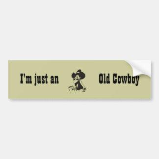 Apenas un viejo vaquero pegatina de parachoque