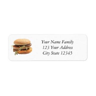 Apenas una hamburguesa clásica etiqueta de remitente