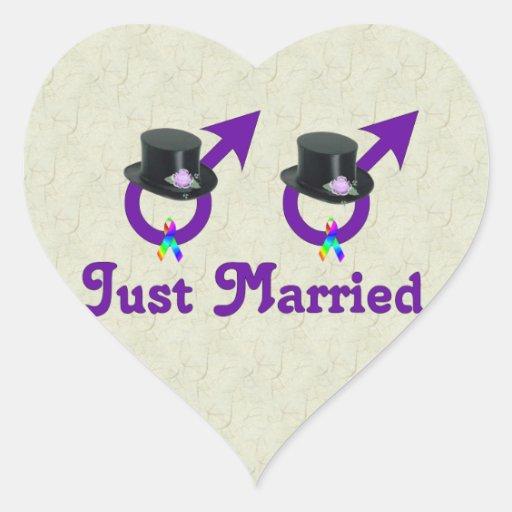 Apenas varón gay formal casado calcomanía corazón