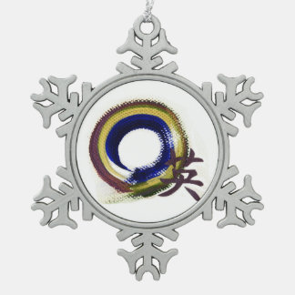Aperature of Courage - Enso Snowflake Pewter Christmas Ornament