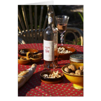 Aperitif and appetizers prepared: bread, olives, card