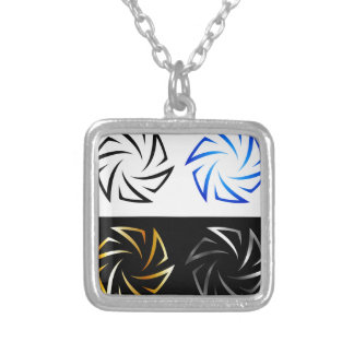 Aperture in different colors silver plated necklace