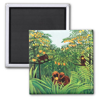 """Apes in the Orange Grove"" by Henri Rousseau Magnets"