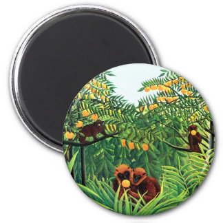 """Apes in the Orange Grove"" by Henri Rousseau Refrigerator Magnets"