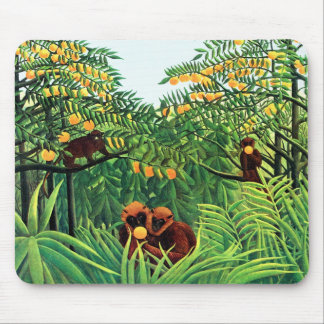 """""""Apes in the Orange Grove"""" by Henri Rousseau Mouse Mats"""