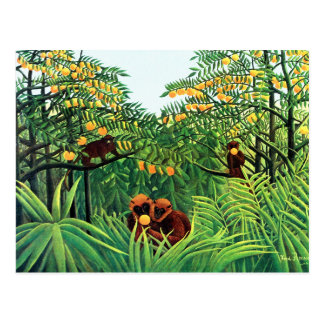 """Apes in the Orange Grove"" by Henri Rousseau Postcard"