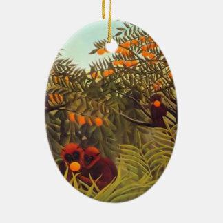 apes in the orange grove ceramic ornament