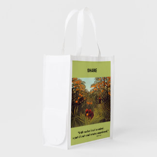 apes in the orange grove reusable grocery bag