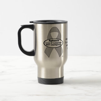 Aphasia Awareness Silver Ribbon Product 15 Oz Stainless Steel Travel Mug