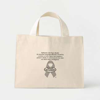 Aphasia Awareness Silver Ribbon Product Mini Tote Bag