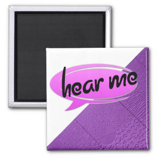 "Aphasia in Purple ""Hear Me"" 2 Inch Square Magnet"