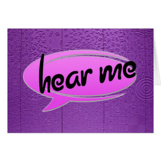 """Aphasia in Purple """"Hear Me"""" Greeting Card"""