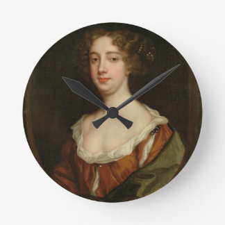 Aphra Behn (1640-89) (oil on canvas) Round Clock