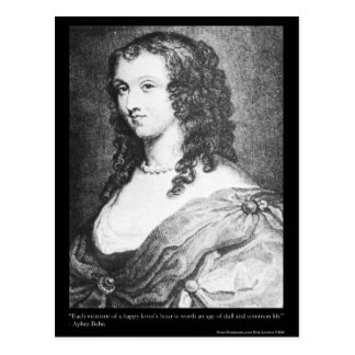 "Aphra Behn ""Lovers Hour"" Quote On Gifts Mugs Tees Postcard"