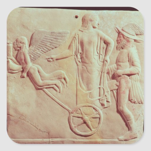 Aphrodite and Hermes riding on a chariot Square Sticker