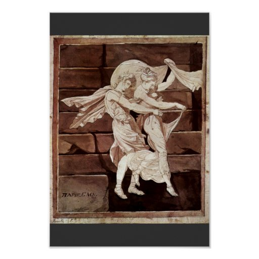 Aphrodite Leads Paris To A Duel With Menelaus By J Print