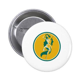 Aphrodite Pirouette Oval Retro Pinback Button