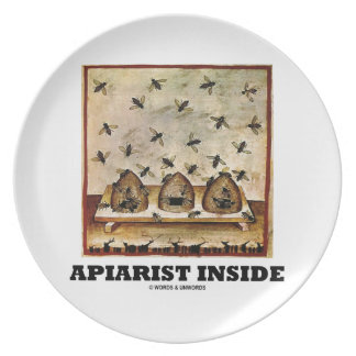 Apiarist Inside (Tacuina sanitatis 14th Century) Melamine Plate