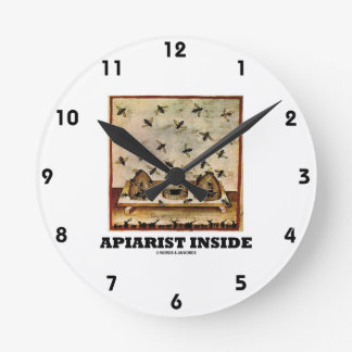 Apiarist Inside (Tacuina sanitatis 14th Century) Round Clock