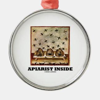 Apiarist Inside (Tacuina sanitatis 14th Century) Round Metal Christmas Ornament