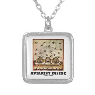 Apiarist Inside (Tacuina sanitatis 14th Century) Square Pendant Necklace