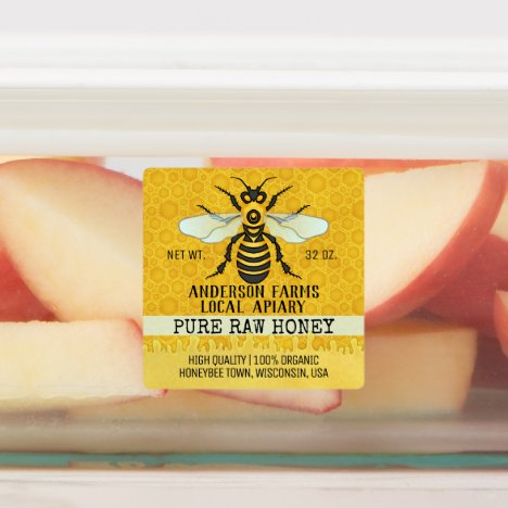 Apiary Honey Jar Bee Farm Honeybee and Honeycomb Labels