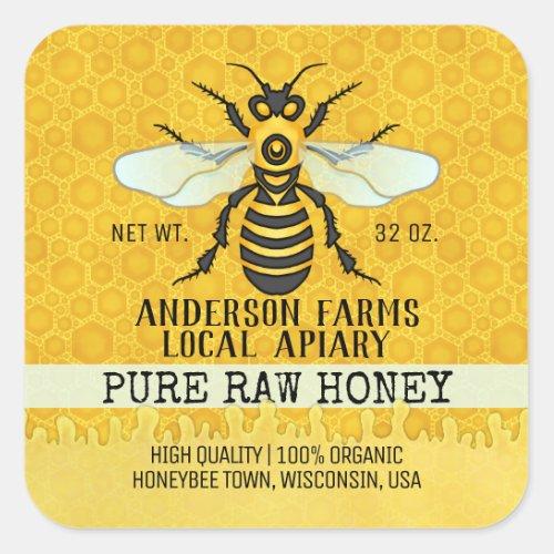 Apiary Honey Jar Labels  Honeybee Honeycomb Bee