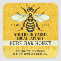 Apiary Honey Jar Labels | Honeybee Honeycomb Bee