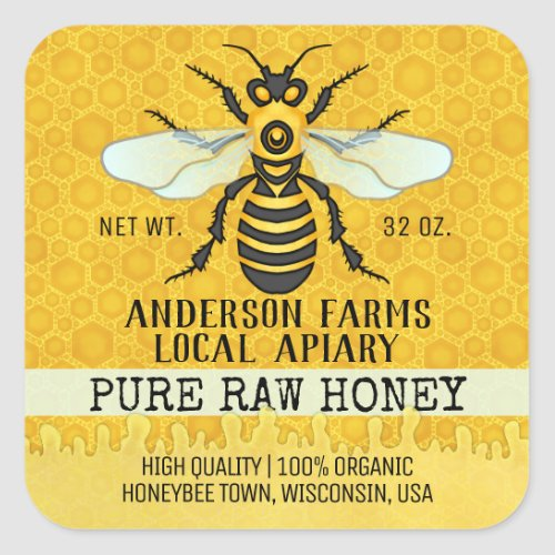 Apiary Honey Jar Labels  Honeybee Honeycomb Bee