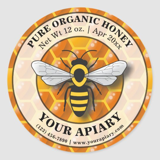 Apiary Honey Label Honeycomb Template