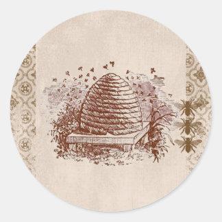 Apicultura de la colmena del vintage pegatina redonda