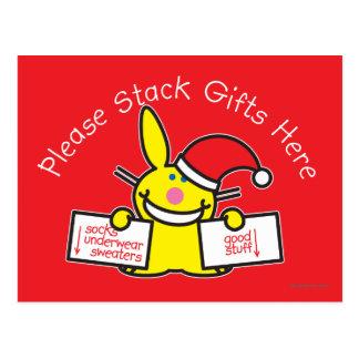 Apile por favor los regalos aquí tarjeta postal