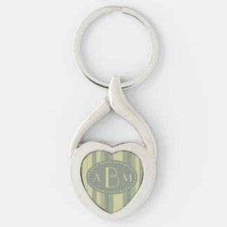 Apio del monograma y raya de la verde salvia llavero plateado en forma de corazón