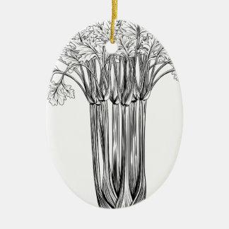 Apio retro del grabar en madera del vintage adorno navideño ovalado de cerámica