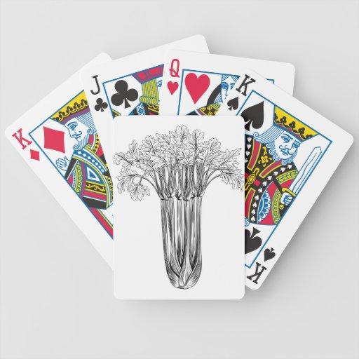 Apio retro del grabar en madera del vintage baraja cartas de poker