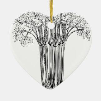 Apio retro del grabar en madera del vintage adorno de cerámica en forma de corazón