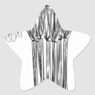 Apio retro del grabar en madera del vintage pegatina en forma de estrella