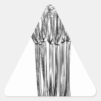 Apio retro del grabar en madera del vintage pegatina triangular