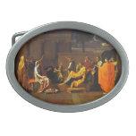 Apisonamiento de Moses del bebé de Nicolás Poussin Hebilla De Cinturon Oval