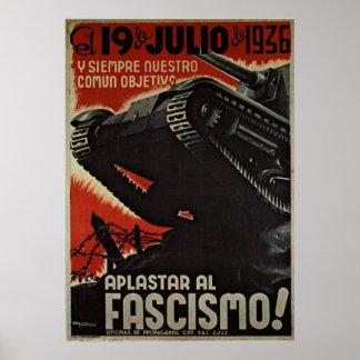 aplastar al fascismo! cartel (poster) poster