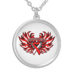 Aplastic Anemia Awareness Heart Wings Personalized Necklace