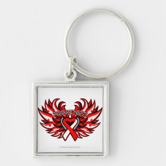 Aplastic Anemia Awareness Heart Wings Silver-Colored Square Keychain