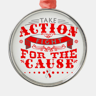 Aplastic Anemia Take Action Fight For The Cause Round Metal Christmas Ornament