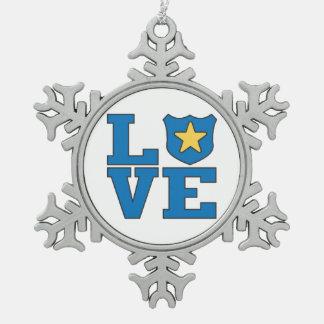 Aplicación de ley del amor adorno de peltre en forma de copo de nieve