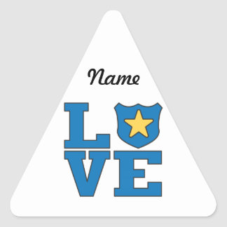 Aplicación de ley del amor pegatina triangular