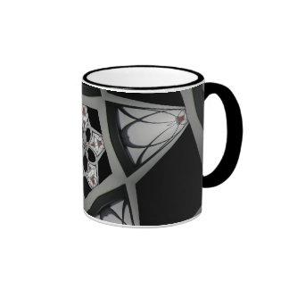 Aplique negro caleidoscópico taza de dos colores