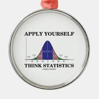 Apliqúese piensan las estadísticas (el humor de la adorno navideño redondo de metal