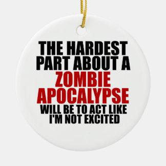 Apocalipsis del zombi adorno navideño redondo de cerámica